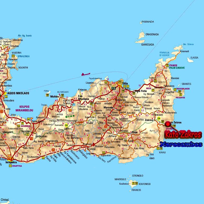 Cartina Geografica Dell Isola Di Creta.Kato Zakros Comune Di Sitia Provincia Del Lassithi Creta Est